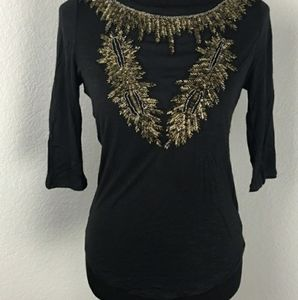 Ecote Black Beaded Top Size L